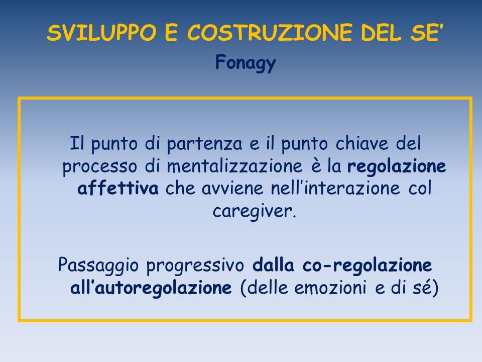SVILUPPO E COSTRUZIONE DEL SE Fonagy Il punto di partenza e il punto chiave del processo di mentalizzazione è la regolazione affettiva che avviene nellinterazione col caregiver.