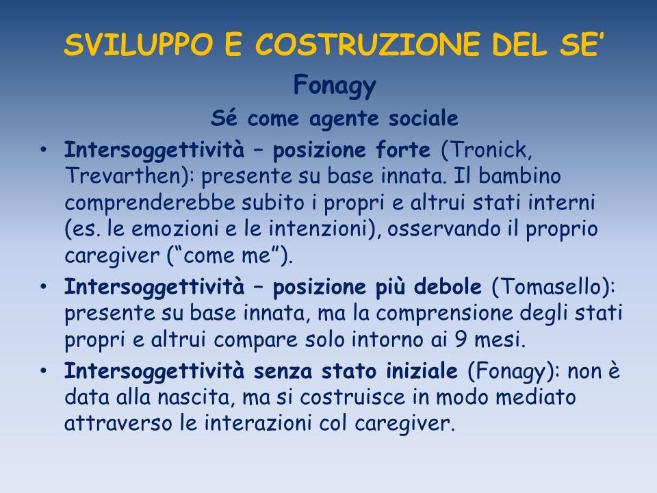 SVILUPPO E COSTRUZIONE DEL SE Fonagy Sé come agente sociale Intersoggettività – posizione forte (Tronick, Trevarthen): presente su base innata.