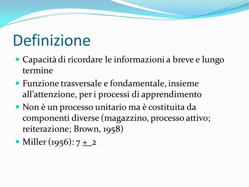 Definizione Capacità di ricordare le informazioni a breve e lungo termine Funzione trasversale e fondamentale, insieme allattenzione, per i processi d