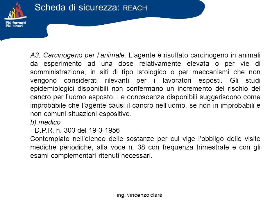 ing. vincenzo clarà A3. Carcinogeno per lanimale: Lagente è risultato carcinogeno in animali da esperimento ad una dose relativamente elevata o per vi