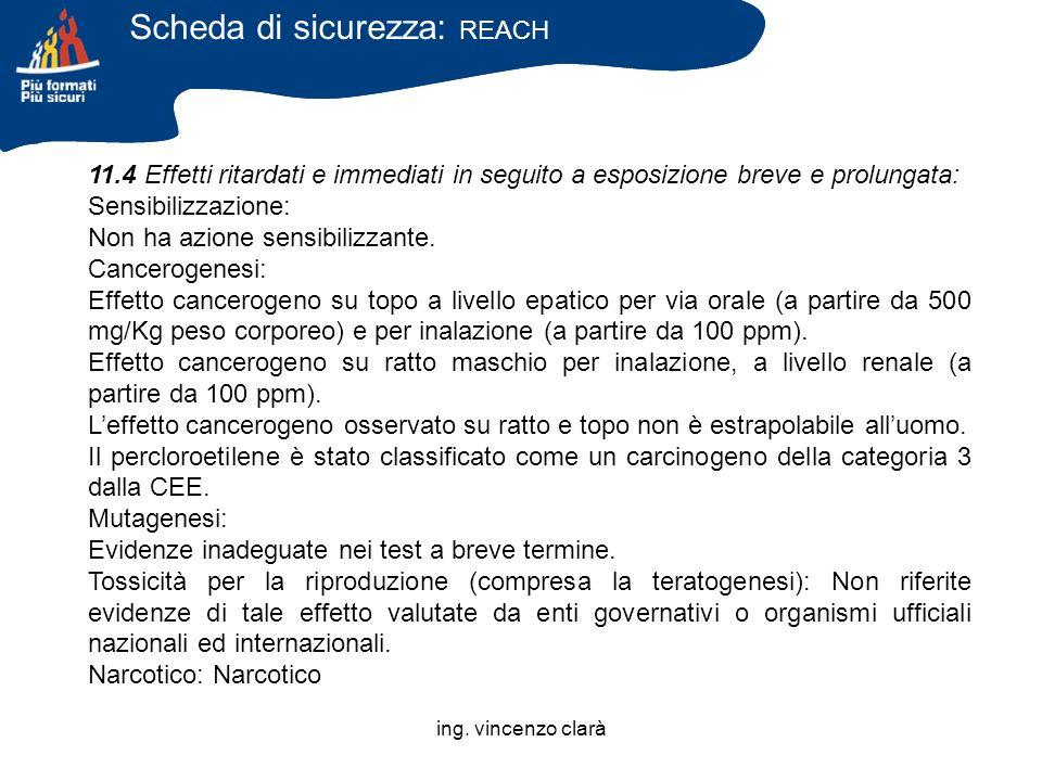 ing. vincenzo clarà 11.4 Effetti ritardati e immediati in seguito a esposizione breve e prolungata: Sensibilizzazione: Non ha azione sensibilizzante.
