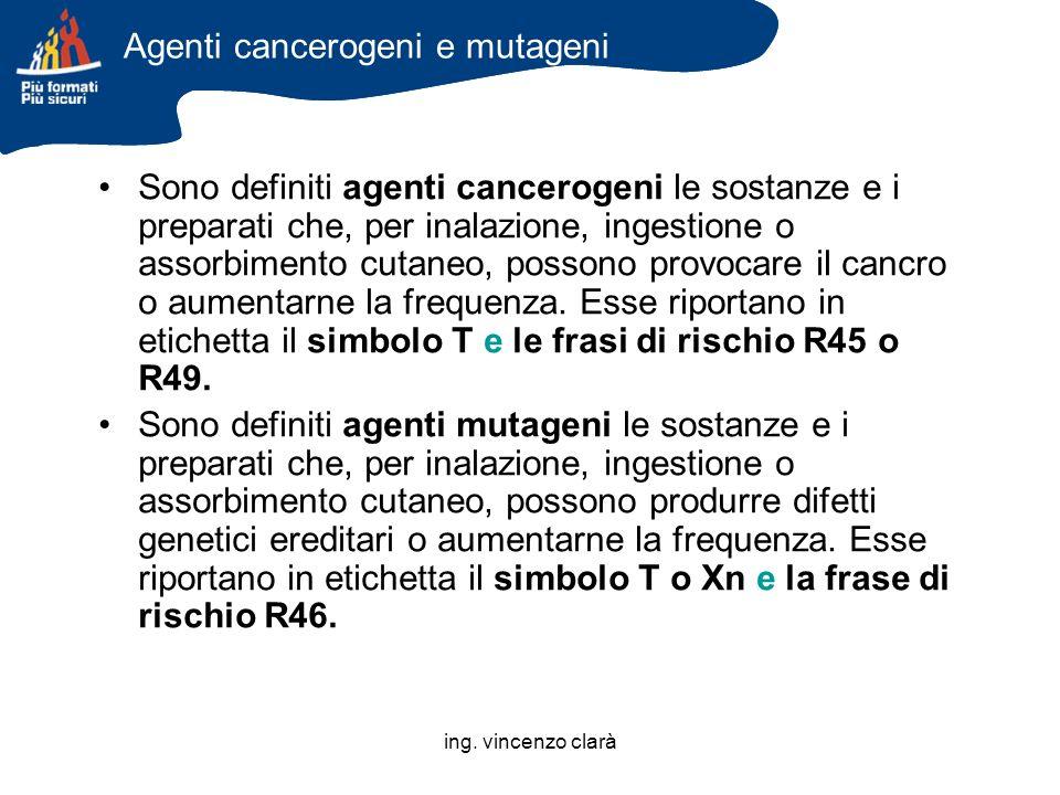 ing. vincenzo clarà Agenti cancerogeni e mutageni Sono definiti agenti cancerogeni le sostanze e i preparati che, per inalazione, ingestione o assorbi