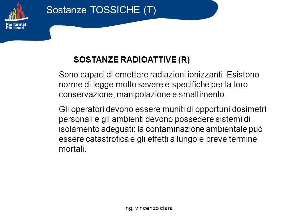 ing. vincenzo clarà SOSTANZE RADIOATTIVE (R) Sono capaci di emettere radiazioni ionizzanti. Esistono norme di legge molto severe e specifiche per la l