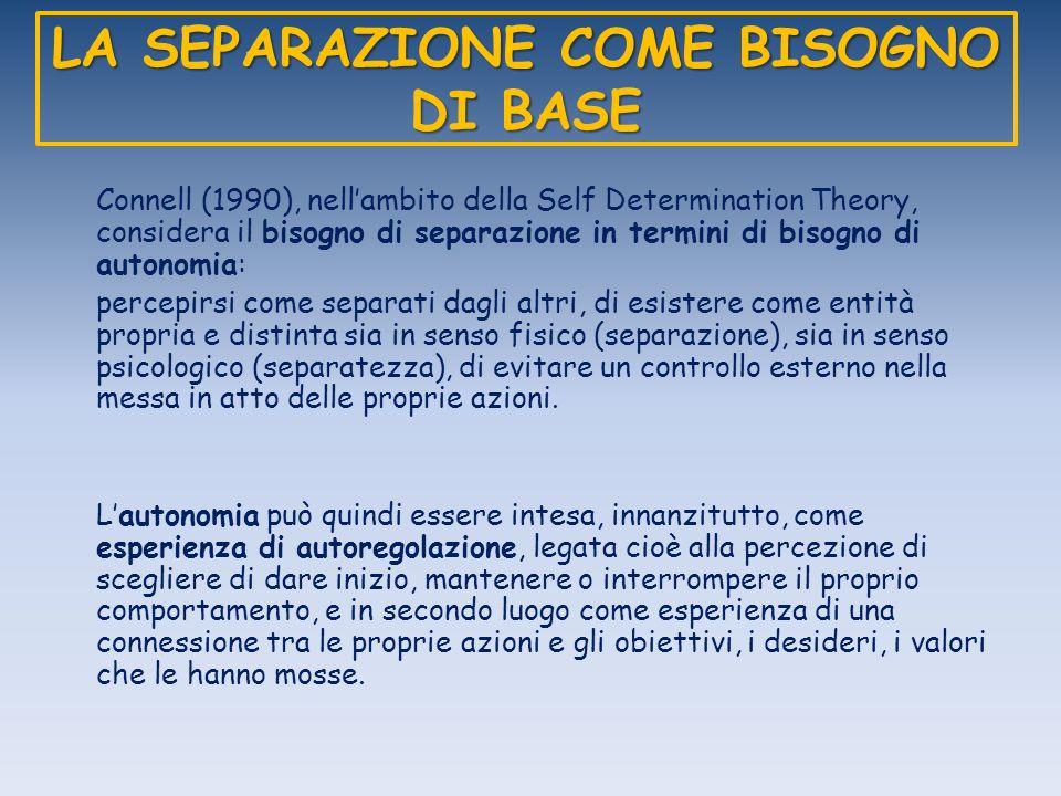 LA SEPARAZIONE COME BISOGNO DI BASE Connell (1990), nellambito della Self Determination Theory, considera il bisogno di separazione in termini di biso