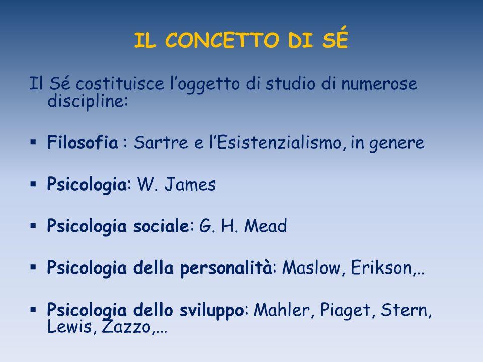 IL CONCETTO DI SÉ Il Sé costituisce loggetto di studio di numerose discipline: Filosofia : Sartre e lEsistenzialismo, in genere Psicologia: W. James P