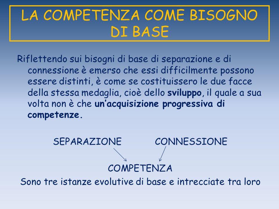 LA COMPETENZA COME BISOGNO DI BASE Riflettendo sui bisogni di base di separazione e di connessione è emerso che essi difficilmente possono essere dist