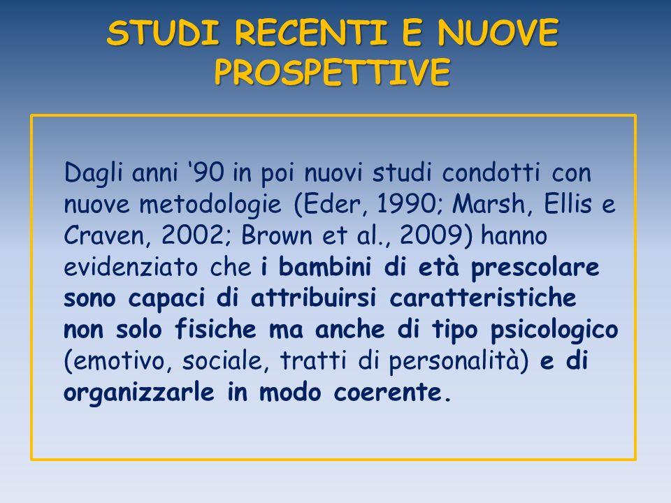 STUDI RECENTI E NUOVE PROSPETTIVE Dagli anni 90 in poi nuovi studi condotti con nuove metodologie (Eder, 1990; Marsh, Ellis e Craven, 2002; Brown et a
