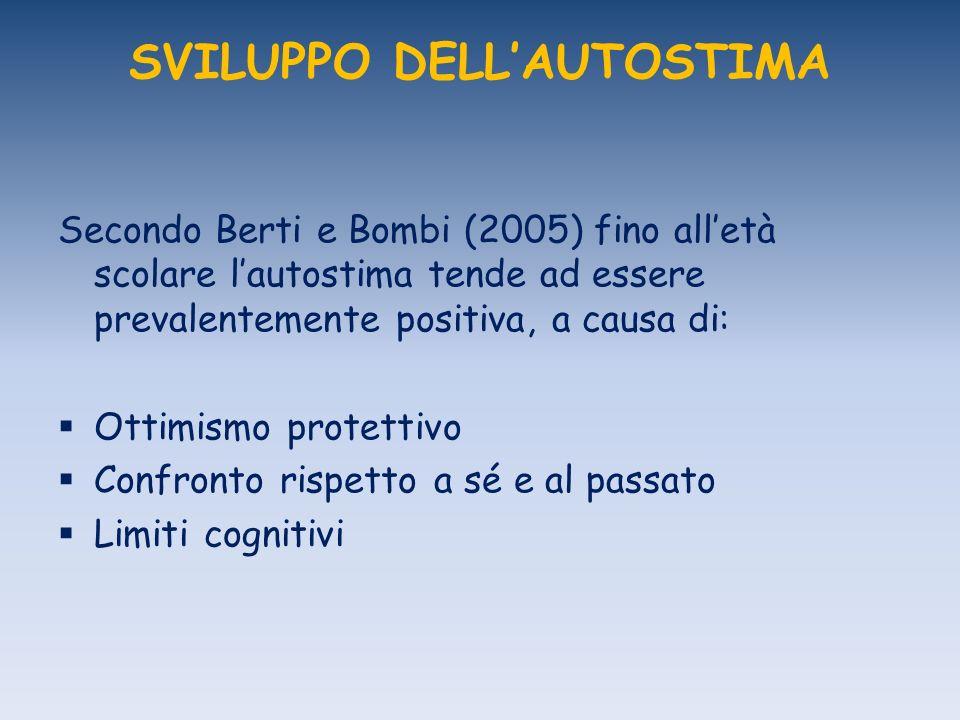 SVILUPPO DELLAUTOSTIMA Secondo Berti e Bombi (2005) fino alletà scolare lautostima tende ad essere prevalentemente positiva, a causa di: Ottimismo pro