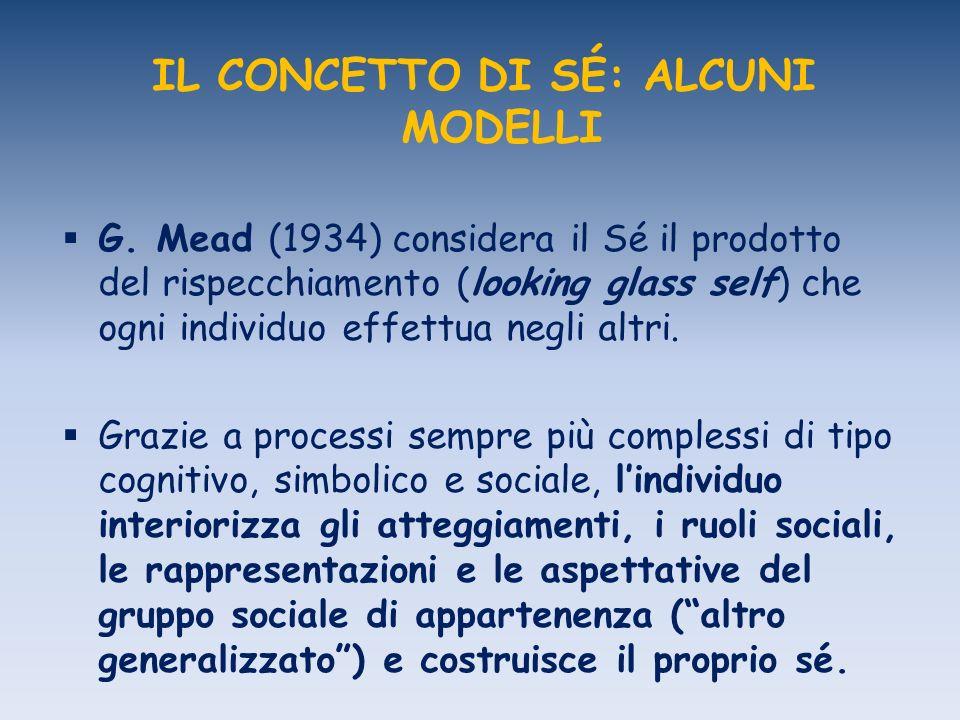 IL CONCETTO DI SÉ: ALCUNI MODELLI G. Mead (1934) considera il Sé il prodotto del rispecchiamento (looking glass self) che ogni individuo effettua negl