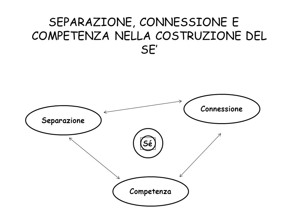 SEPARAZIONE, CONNESSIONE E COMPETENZA NELLA COSTRUZIONE DEL SE Separazione Connessione Competenza Sé