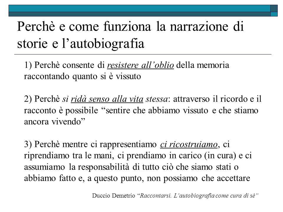 Perchè e come funziona la narrazione di storie e lautobiografia Duccio Demetrio Raccontarsi.
