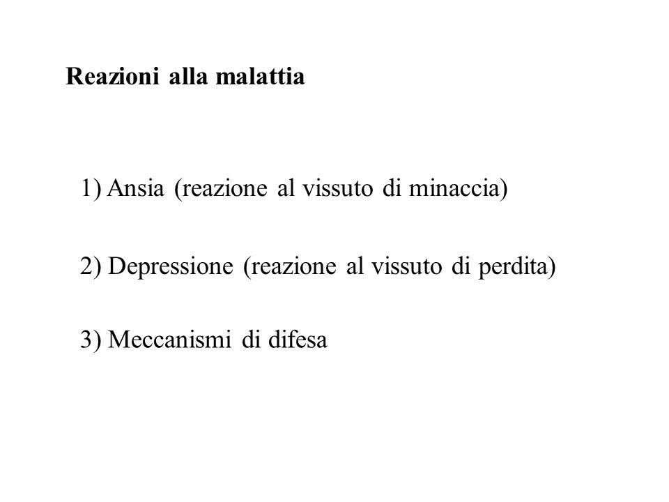 Reazioni alla malattia 1) Ansia (reazione al vissuto di minaccia) 2) Depressione (reazione al vissuto di perdita) 3) Meccanismi di difesa