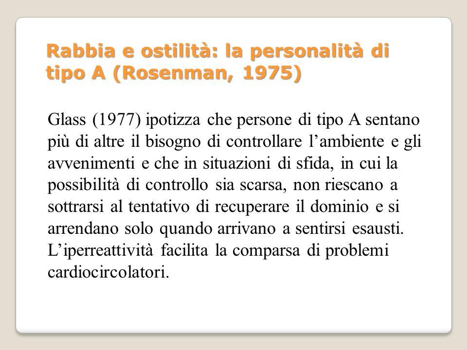 Glass (1977) ipotizza che persone di tipo A sentano più di altre il bisogno di controllare lambiente e gli avvenimenti e che in situazioni di sfida, i