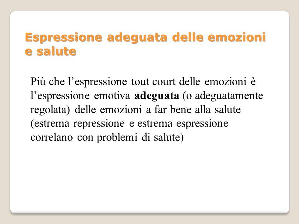 Più che lespressione tout court delle emozioni è lespressione emotiva adeguata (o adeguatamente regolata) delle emozioni a far bene alla salute (estre