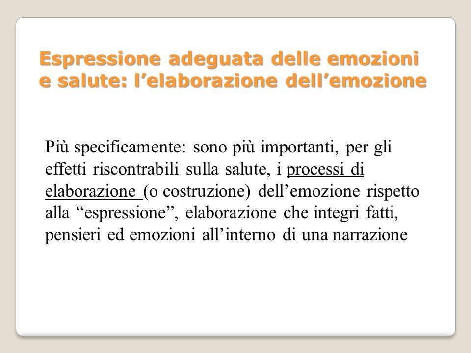 Espressione adeguata delle emozioni e salute: lelaborazione dellemozione Più specificamente: sono più importanti, per gli effetti riscontrabili sulla