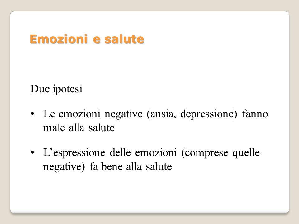 Le emozioni negative (ansia, depressione) fanno male alla salute Due ipotesi Lespressione delle emozioni (comprese quelle negative) fa bene alla salut