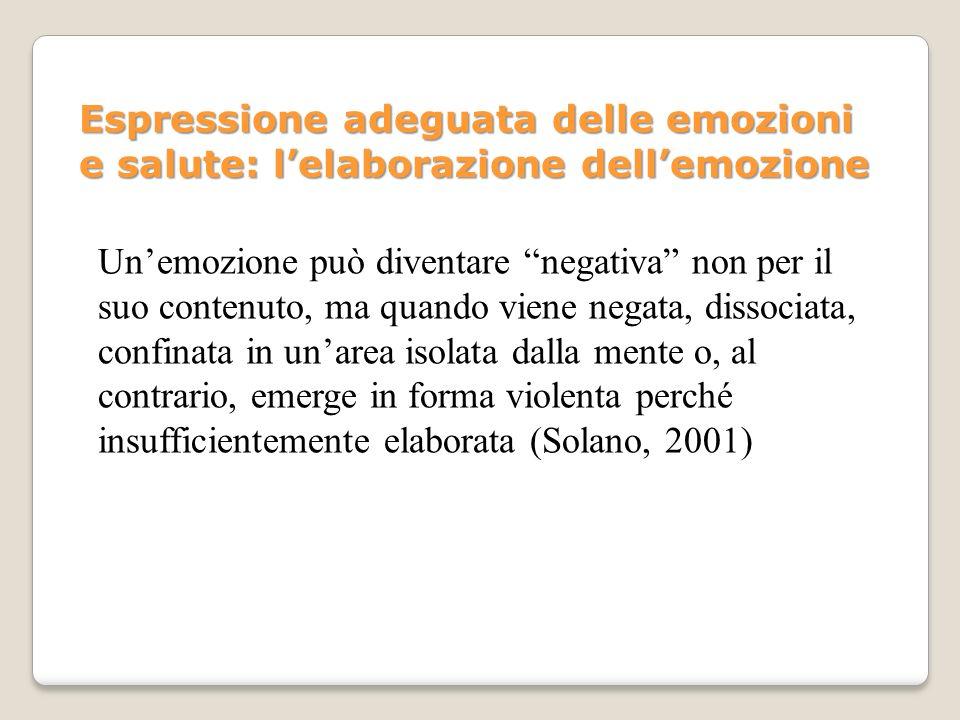 Unemozione può diventare negativa non per il suo contenuto, ma quando viene negata, dissociata, confinata in unarea isolata dalla mente o, al contrari