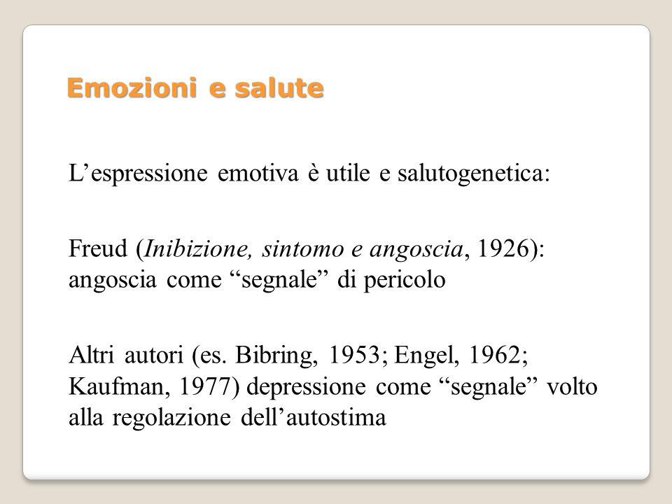Lespressione emotiva è utile e salutogenetica: Freud (Inibizione, sintomo e angoscia, 1926): angoscia come segnale di pericolo Altri autori (es. Bibri