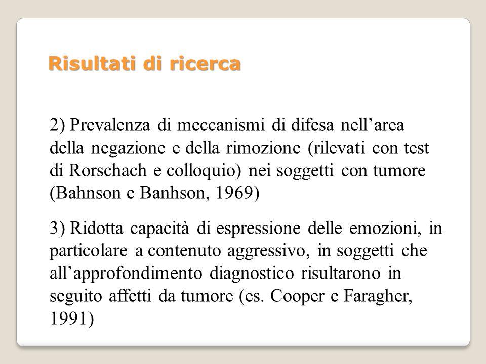 2) Prevalenza di meccanismi di difesa nellarea della negazione e della rimozione (rilevati con test di Rorschach e colloquio) nei soggetti con tumore