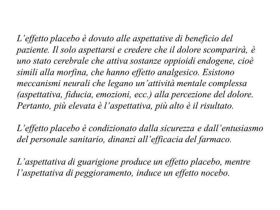 Leffetto placebo è dovuto alle aspettative di beneficio del paziente.