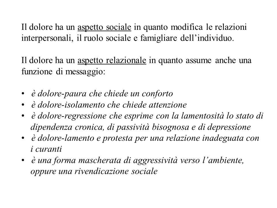 Il dolore ha un aspetto sociale in quanto modifica le relazioni interpersonali, il ruolo sociale e famigliare dellindividuo.