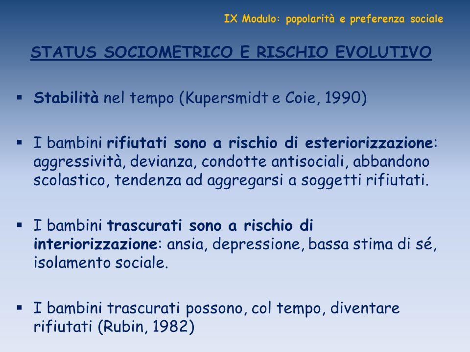 IX Modulo: popolarità e preferenza sociale STATUS SOCIOMETRICO E RISCHIO EVOLUTIVO Stabilità nel tempo (Kupersmidt e Coie, 1990) I bambini rifiutati s