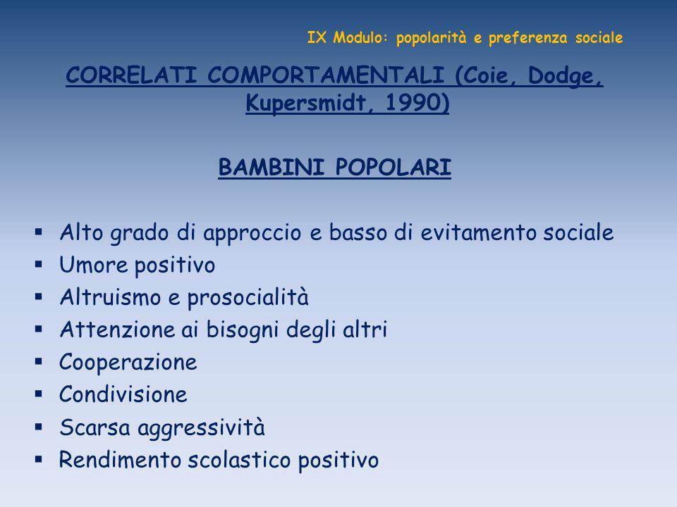 IX Modulo: popolarità e preferenza sociale CORRELATI COMPORTAMENTALI (Coie, Dodge, Kupersmidt, 1990) BAMBINI POPOLARI Alto grado di approccio e basso