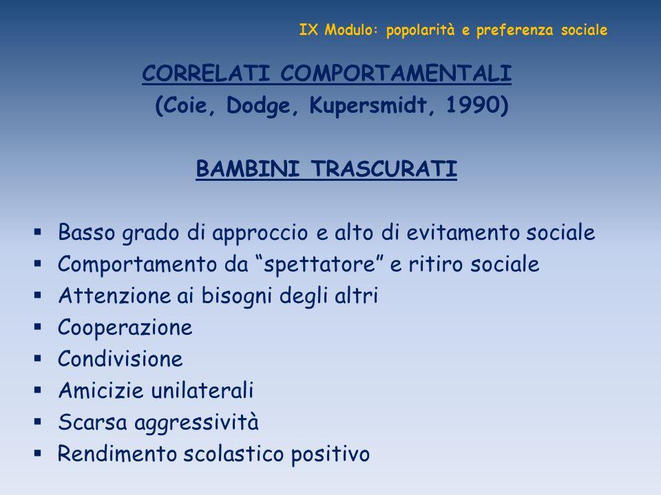 IX Modulo: popolarità e preferenza sociale CORRELATI COMPORTAMENTALI (Coie, Dodge, Kupersmidt, 1990) BAMBINI TRASCURATI Basso grado di approccio e alt
