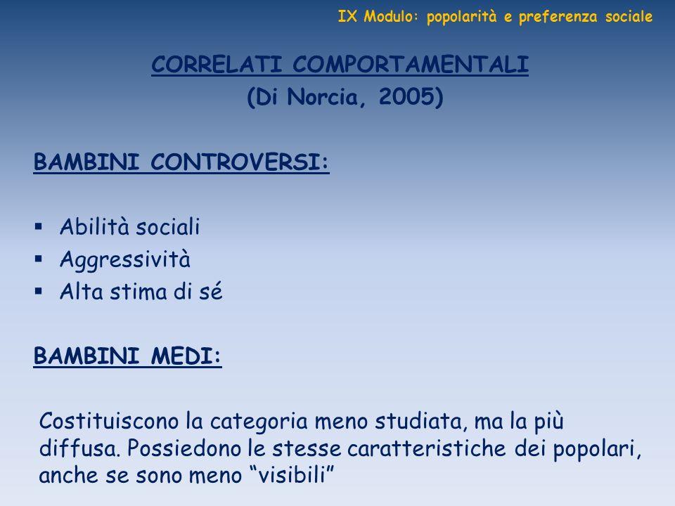 IX Modulo: popolarità e preferenza sociale CORRELATI COMPORTAMENTALI (Di Norcia, 2005) BAMBINI CONTROVERSI: Abilità sociali Aggressività Alta stima di