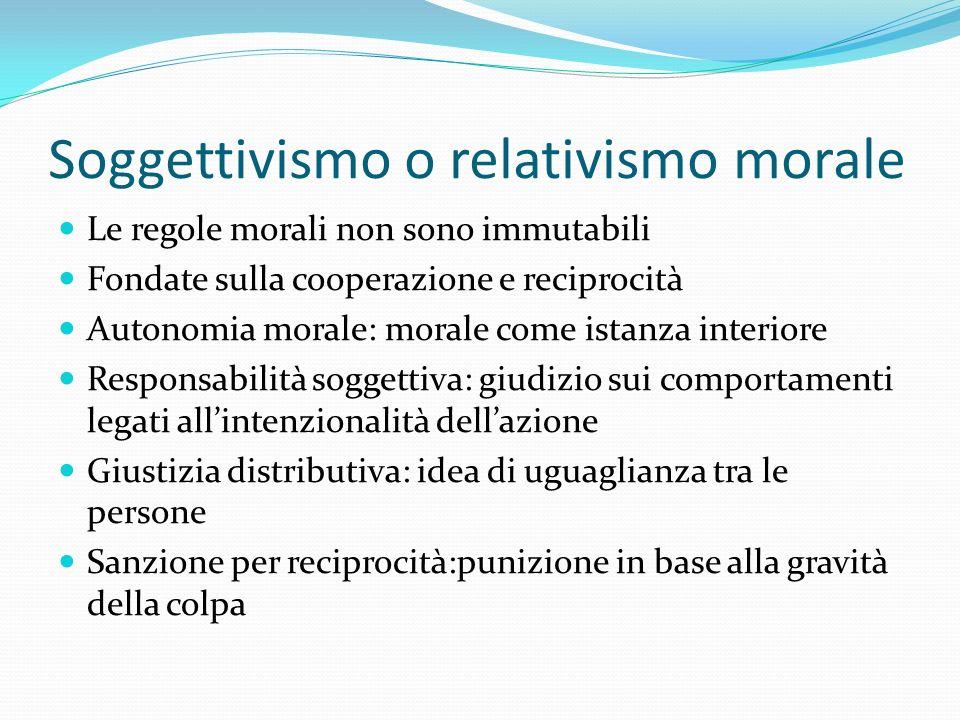Soggettivismo o relativismo morale Le regole morali non sono immutabili Fondate sulla cooperazione e reciprocità Autonomia morale: morale come istanza