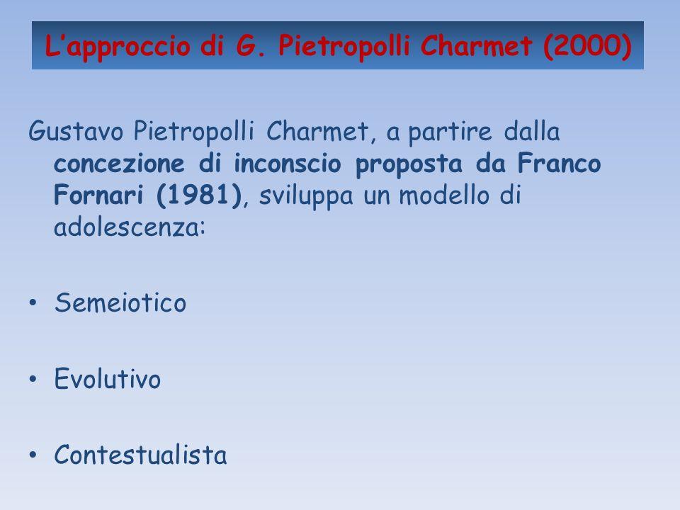 Lapproccio di G. Pietropolli Charmet (2000) Gustavo Pietropolli Charmet, a partire dalla concezione di inconscio proposta da Franco Fornari (1981), sv