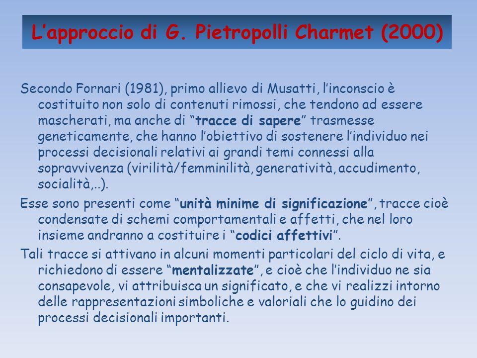 Lapproccio di G. Pietropolli Charmet (2000) Secondo Fornari (1981), primo allievo di Musatti, linconscio è costituito non solo di contenuti rimossi, c