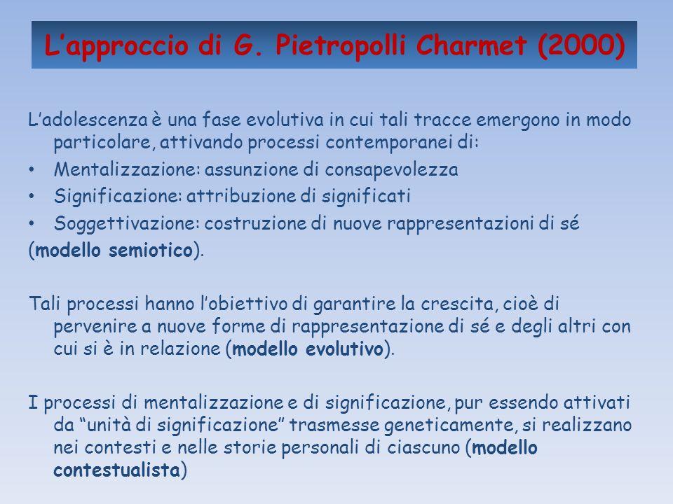 Lapproccio di G. Pietropolli Charmet (2000) Ladolescenza è una fase evolutiva in cui tali tracce emergono in modo particolare, attivando processi cont
