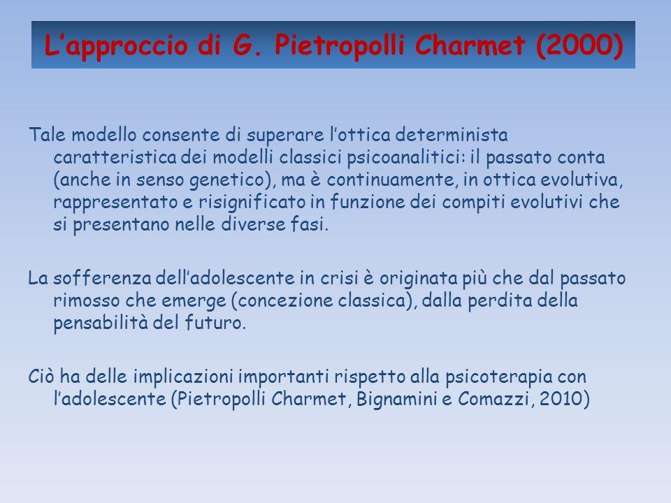 Lapproccio di G. Pietropolli Charmet (2000) Tale modello consente di superare lottica determinista caratteristica dei modelli classici psicoanalitici: