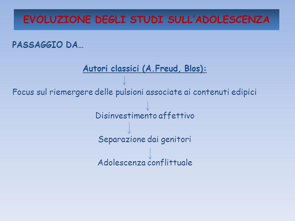 EVOLUZIONE DEGLI STUDI SULLADOLESCENZA PASSAGGIO DA… Autori classici (A.Freud, Blos): Focus sul riemergere delle pulsioni associate ai contenuti edipi