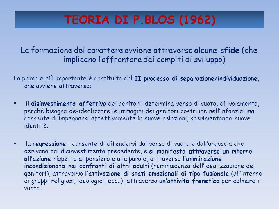 TEORIA DI P.BLOS (1962) La formazione del carattere avviene attraverso alcune sfide (che implicano laffrontare dei compiti di sviluppo) La prima e più
