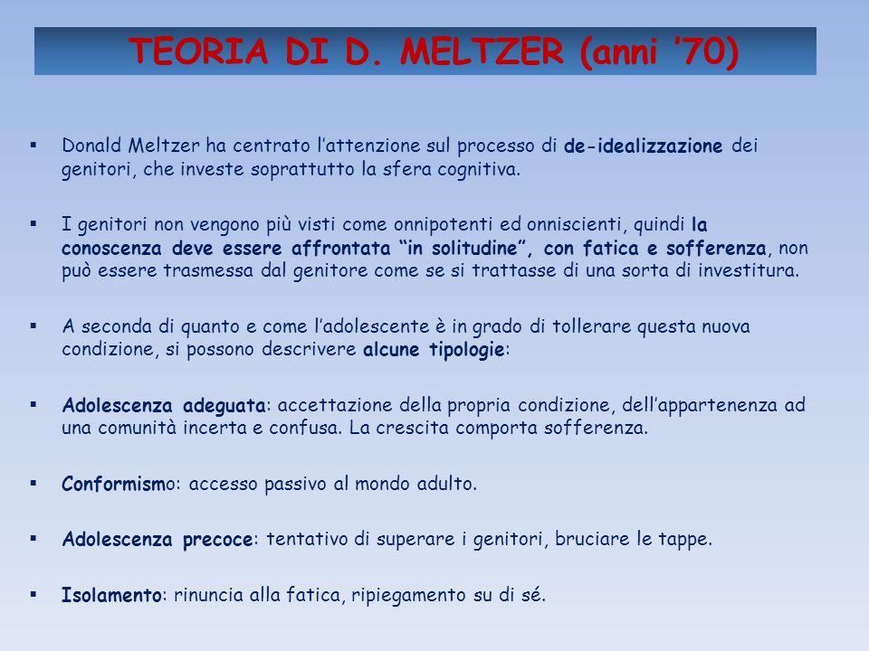 TEORIA DI D. MELTZER (anni 70) Donald Meltzer ha centrato lattenzione sul processo di de-idealizzazione dei genitori, che investe soprattutto la sfera