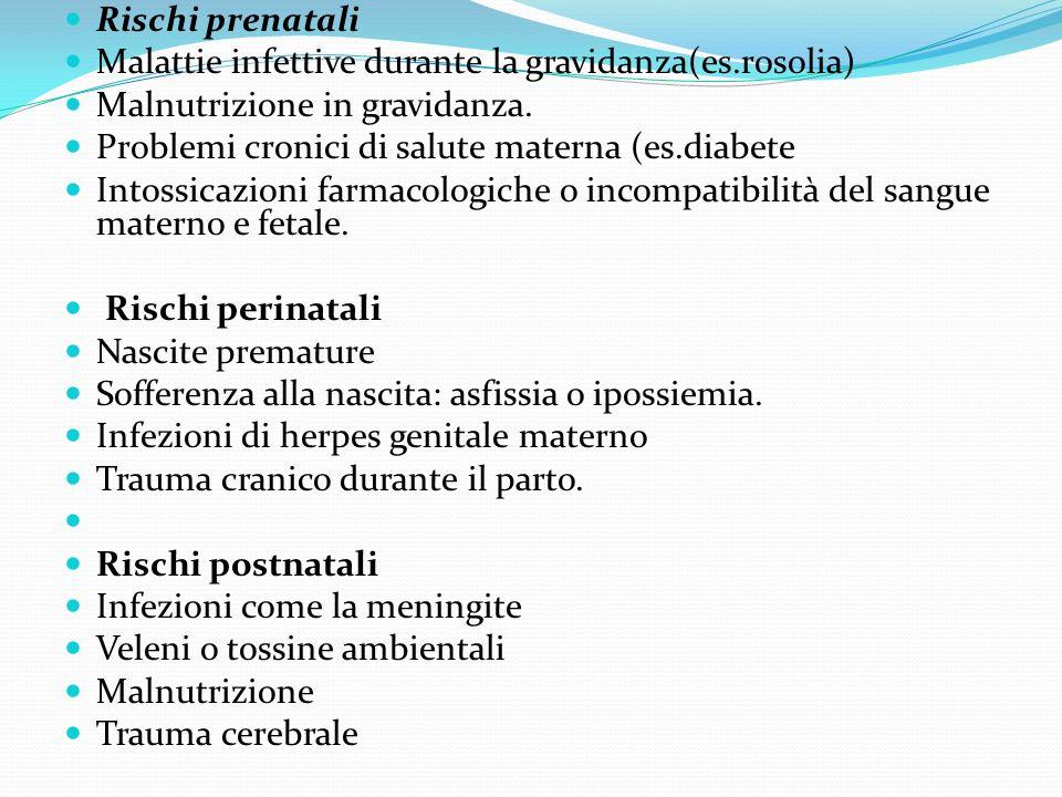 Rischi prenatali Malattie infettive durante la gravidanza(es.rosolia) Malnutrizione in gravidanza. Problemi cronici di salute materna (es.diabete Into