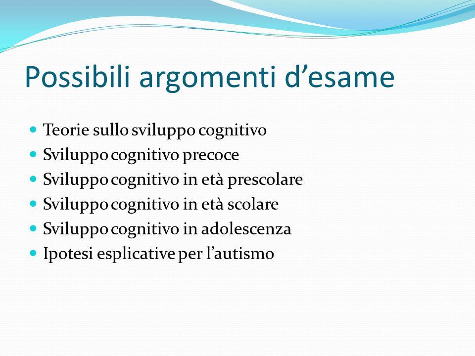 Possibili argomenti desame Teorie sullo sviluppo cognitivo Sviluppo cognitivo precoce Sviluppo cognitivo in età prescolare Sviluppo cognitivo in età s
