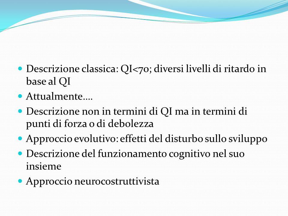 Descrizione classica: QI<70; diversi livelli di ritardo in base al QI Attualmente…. Descrizione non in termini di QI ma in termini di punti di forza o
