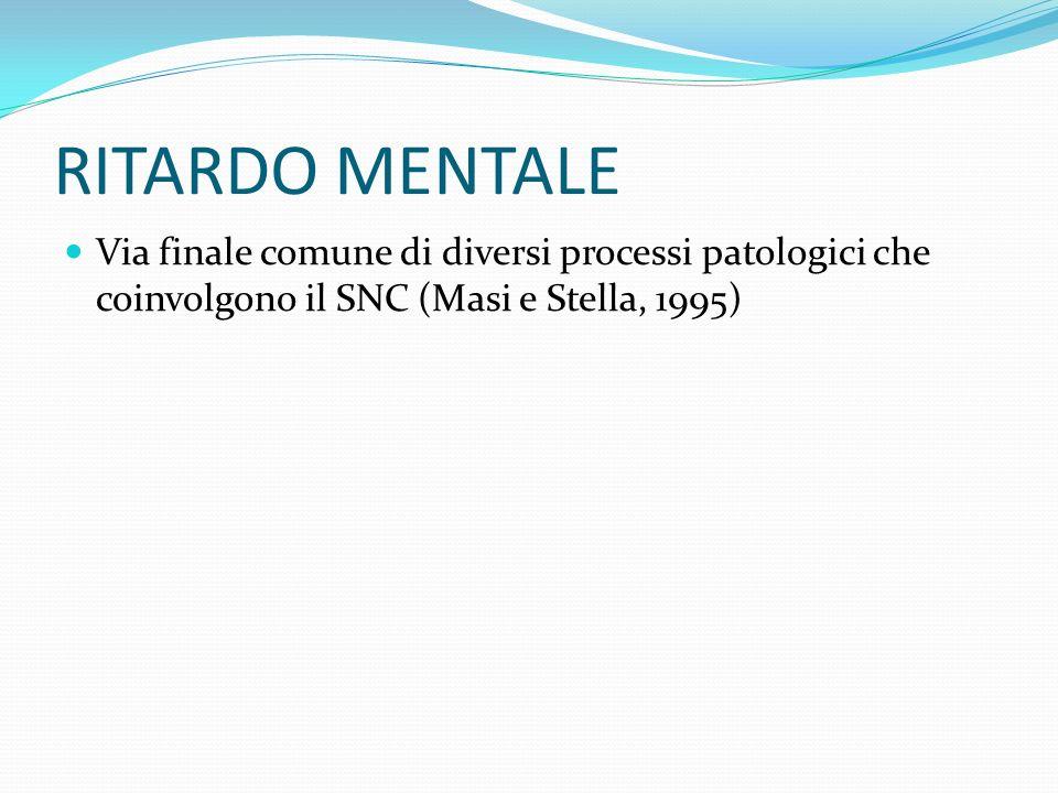 RITARDO MENTALE Via finale comune di diversi processi patologici che coinvolgono il SNC (Masi e Stella, 1995)