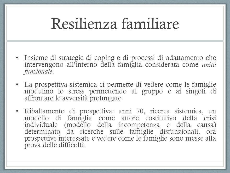 Resilienza familiare Insieme di strategie di coping e di processi di adattamento che intervengono allinterno della famiglia considerata come unità fun