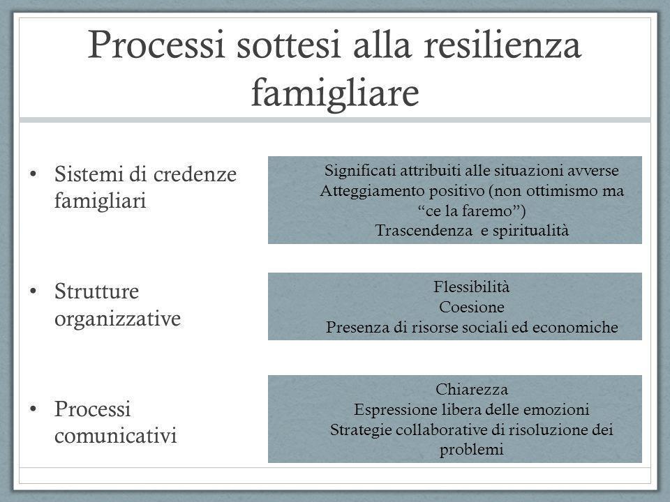 Processi sottesi alla resilienza famigliare Sistemi di credenze famigliari Strutture organizzative Processi comunicativi Significati attribuiti alle s