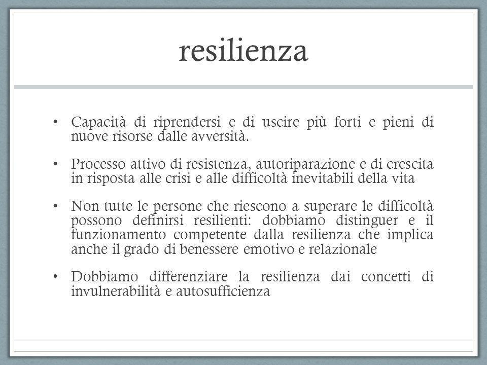 resilienza Capacità di riprendersi e di uscire più forti e pieni di nuove risorse dalle avversità. Processo attivo di resistenza, autoriparazione e di