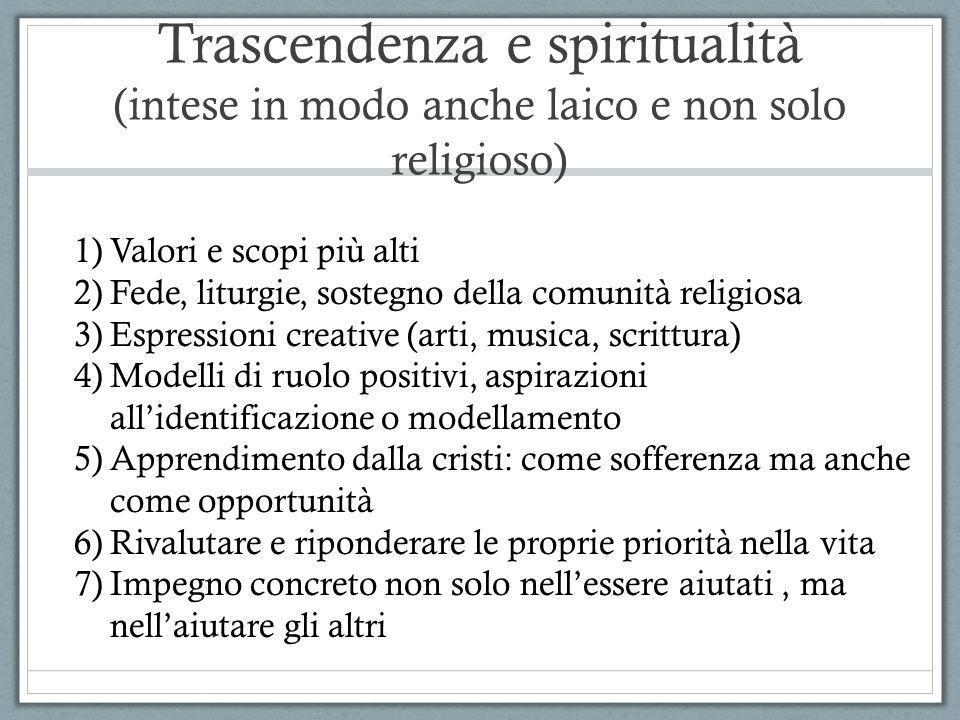 Trascendenza e spiritualità (intese in modo anche laico e non solo religioso) 1)Valori e scopi più alti 2)Fede, liturgie, sostegno della comunità reli