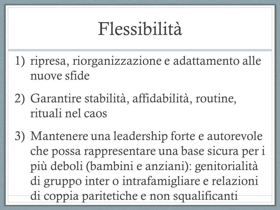 Flessibilità 1)ripresa, riorganizzazione e adattamento alle nuove sfide 2)Garantire stabilità, affidabilità, routine, rituali nel caos 3)Mantenere una