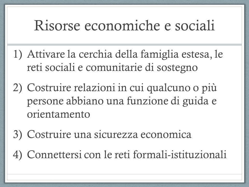 Risorse economiche e sociali 1)Attivare la cerchia della famiglia estesa, le reti sociali e comunitarie di sostegno 2)Costruire relazioni in cui qualc