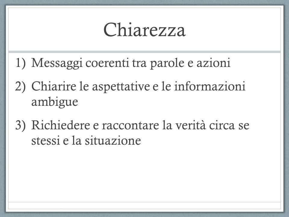 Chiarezza 1)Messaggi coerenti tra parole e azioni 2)Chiarire le aspettative e le informazioni ambigue 3)Richiedere e raccontare la verità circa se ste