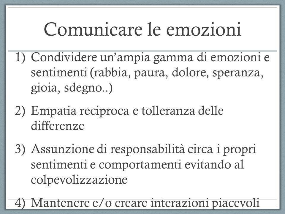 Comunicare le emozioni 1)Condividere unampia gamma di emozioni e sentimenti (rabbia, paura, dolore, speranza, gioia, sdegno..) 2)Empatia reciproca e t