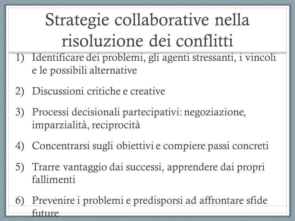 Strategie collaborative nella risoluzione dei conflitti 1)Identificare dei problemi, gli agenti stressanti, i vincoli e le possibili alternative 2)Dis